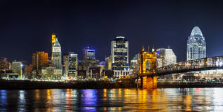Cincinnati i stadens centrum panorama- överblick Royaltyfri Bild