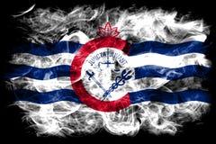 Cincinnati miasta dymu flaga, Ohio stan, Stany Zjednoczone Ameryka Obrazy Royalty Free