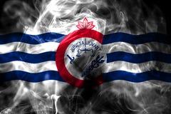 Cincinnati miasta dymu flaga, Ohio stan, Stany Zjednoczone Ameryka obrazy stock