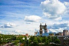 Cincinnati na most John Ohio roebling zawieszenie Roebling zawieszenia most, Cincinnati, Ohio obrazy royalty free