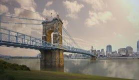 Cincinnati na most John Ohio roebling zawieszenie Roebling zawieszenie most w Cincinnati, Ohio zdjęcie royalty free