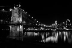 Cincinnati at night. The Roebling bridge in Cincinnati at night Stock Photos