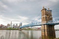 Cincinnati, OH en de Rivier van Ohio Stock Foto's