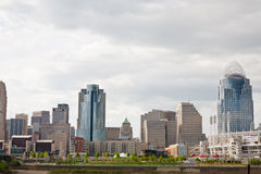 Cincinnati, OH. Image of Cincinnati skyline on the Ohio River on an overcast day. Cincinnati is a city in and the county seat of Hamilton County, Ohio, United Stock Images