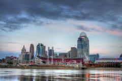 Cincinnati Ohio horisont, morgon, ledare Royaltyfri Foto
