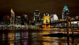 Cincinnati, Ohio Skyline at Night Stock Images