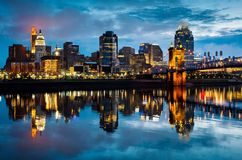 Cincinnati Ohio at Sunrise. Reflected in the Ohio River Royalty Free Stock Photography