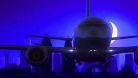 Cincinnati Ohio USA America Airplane Take Off Moon Night Blue Skyline Travel royalty free illustration