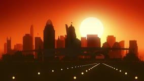Cincinnati Ohio USA America Skyline Sunrise Landing stock video footage