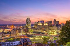 Cincinnati, Ohio, USA. Cityscape at twilight Royalty Free Stock Photography