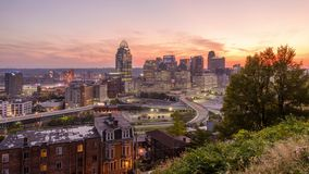 Cincinnati, Ohio, USA. Cityscape at twilight stock footage