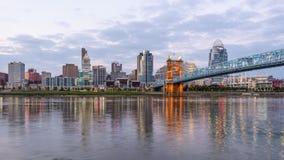 Cincinnati, Ohio, USA. Downtown skyline on the Ohio River stock footage