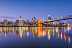 Cincinnati, Ohio, USA River Skyline. Cincinnati, Ohio, USA downtown skyline and bridge on the Ohio River at dusk royalty free stock photos
