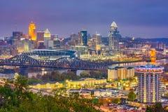 Cincinnati, Ohio, USA Skyline. Over the Cuyahoga River at dusk royalty free stock photos