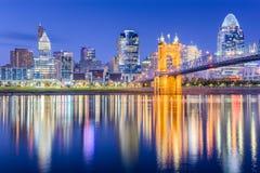 Cincinnati, Ohio, USA Skyline. On the river at dusk stock photos