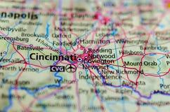 Cincinnati op kaart royalty-vrije stock afbeeldingen