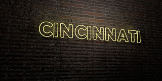 CINCINNATI -Realistic Neon Sign on Brick Wall background - 3D rendered royalty free stock image Royalty Free Stock Photography