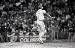 Jose Rijo, Cincinnati Reds. Cincinnati Reds ace Jose Rijo pitching in Game 4 of the 1990 World Series. Image taken from a b&w negative stock photo