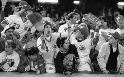 1990 Cincinnati Reds Fans during Game 4 of the World Series. Image taken from a b&w negative stock photography