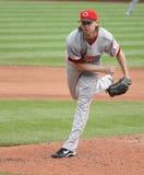Cincinnati Reds' pitcher Bronson Arroyo. Follows through on a pitch Royalty Free Stock Photography