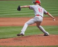 Cincinnati Reds' pitcher Bronson Arroyo. Follows through on a pitch Royalty Free Stock Image