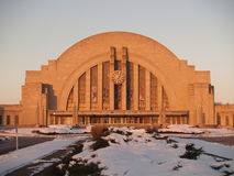 Cincinnati's Union Terminal. Cincinnati's classic train station near sunrise on a snowy winter day Royalty Free Stock Images