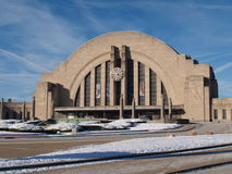 Cincinnati's Union Terminal. Looking at Cincinnati's Union Terminal during the winter with the latest snow in evidence Royalty Free Stock Photo