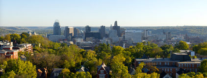 Cincinnati Skyline. A panoramic view of downtown Cincinnati, as seen from the top floor of The Christ Hospital. Useful for any general article or story about Royalty Free Stock Photo