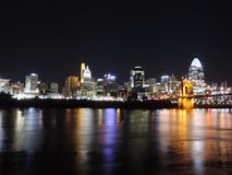 Downtown Cincinnati Ohio Skyline at Night Royalty Free Stock Photos