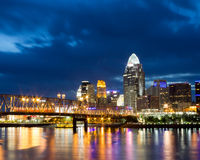 Cincinnati Skyline at Night Stock Photos