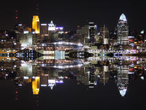 Downtown Cincinnati Ohio Skyline Reflection royalty free stock photography