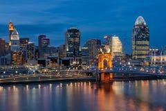 Cincinnati Skyline, Roebling Bridge, Ohio. Cincinnati skyline and Roebling Bridge at twilight stock photo