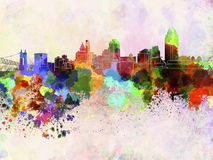 Cincinnati skyline in watercolor background Royalty Free Stock Photos