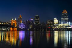 Cincinnati with SkyStar Wheel stock photography