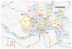 Cincinnati-Straße und Nachbarschaftskarte Stockbild