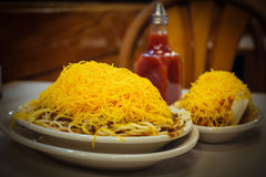Cincinnati Style Chili And Cheese Coney Royalty Free Stock Photography