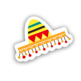 Cinco的De马约角墨西哥sambrero宴餐 手拉的贴纸des 免版税图库摄影