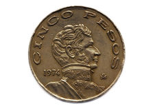 cinco硬币比索 库存照片