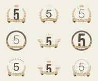 Cinco años del aniversario de logotipo de la celebración 5ta colección del logotipo del aniversario Imagen de archivo