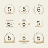 Cinco años del aniversario de logotipo de la celebración 5ta colección del logotipo del aniversario Fotografía de archivo libre de regalías