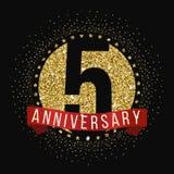 Cinco años del aniversario de logotipo de la celebración 5to logotipo del aniversario Imagenes de archivo