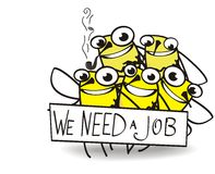Cinco abejas que necesitan trabajo stock de ilustración