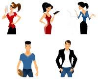 Cinco adolescentes ajustados ilustração royalty free
