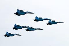 Cinco aeroplanos SU-27 imagen de archivo