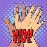 Cinco altos mão preta branca de cumprimento ilustração stock