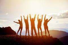 Cinco amigos felizes com braços aumentados Imagem de Stock