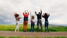 Cinco amigos jovenes están saltando llevando a cabo las manos en un campo verde almacen de metraje de vídeo
