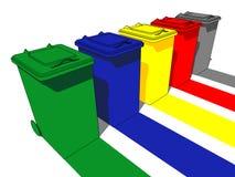 Cinco baldes do lixo Imagens de Stock