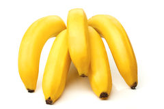 Cinco bananas isoladas no branco Fotografia de Stock