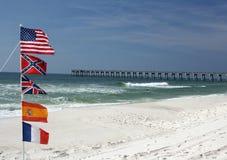 Cinco bandeiras americanas na praia Imagens de Stock Royalty Free